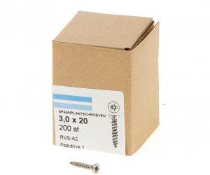 Spaanplaatschroef roestvaststaal A2 platkop pozidrive-1 3.0X20 voldraad (200)