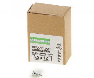 Spaanplaatschroef verzinkt platkop pozidrive-2 3.5X12 voldraad (200)