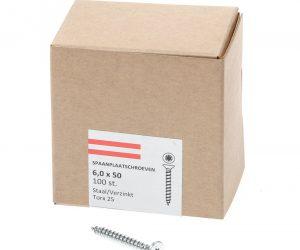 Spaanplaatschroef verzinkt platkop torx-25 6.0X50 voldraad (100)
