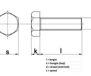 Zeskanttapbout RVS A2 m8 x 45mm